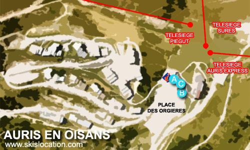 plan auris en oisans - carte de la station de ski