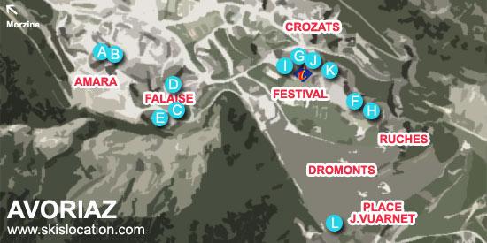 plan avoriaz station de ski – magasins de location par quartiers
