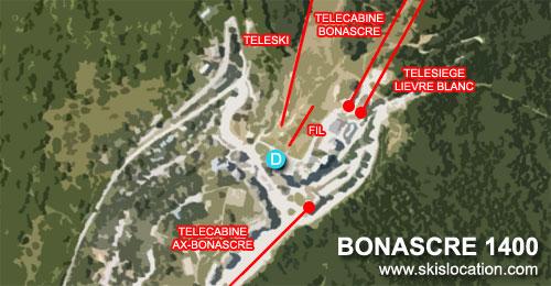 plan Bonascre 1400 station de ski d'Ax 3 Domaines