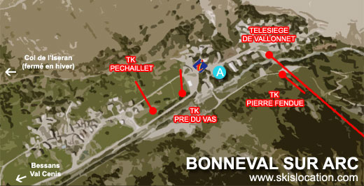 plan bonneval sur arc station village ski