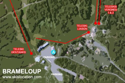 plan brameloup station de ski de l'aubrac - carte domaine skiable