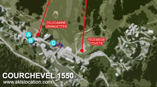 carte plan courchevel 1550 station de ski des 3 Vallées