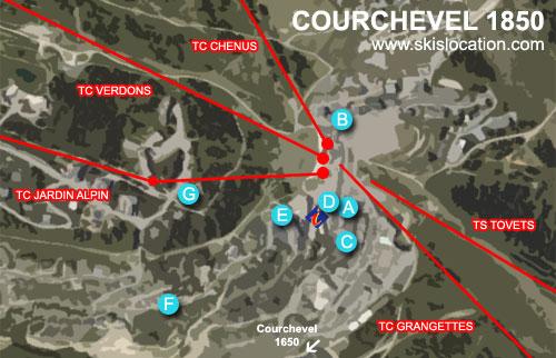 plan courchevel 1850 station magasins skiset location de ski