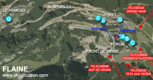 plan de flaine carte de la station de ski du Grand Massif