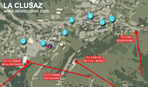 plan la clusaz carte de la station des Aravis