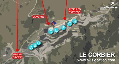 plan le corbier station de ski du domaine des Sybelles