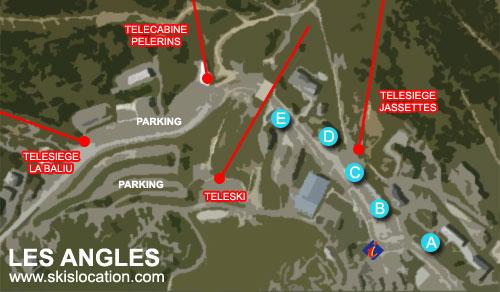 plan les angles, carte de la station de ski