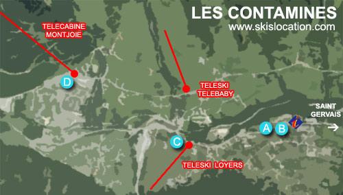 plan les contamines montjoie – carte de la station de ski