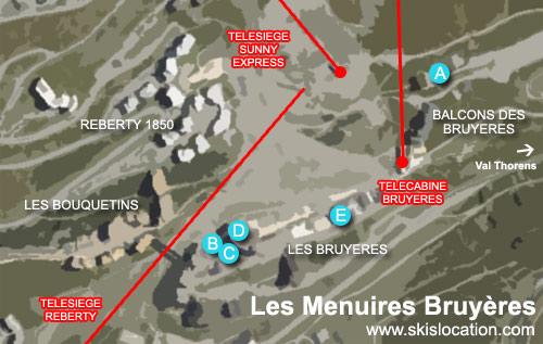 plan les menuires quartier des bruyères - carte station de ski