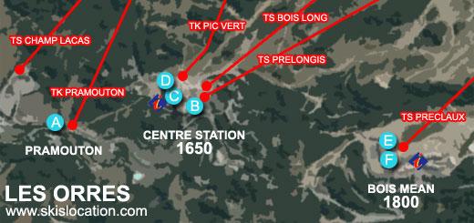 plan les orres station ski 1650 1800 Bois Mean