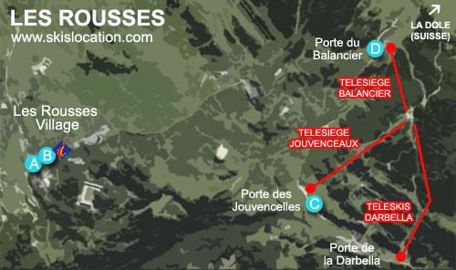 plan station les rousses Jura domaine ski alpin massif des tuffes