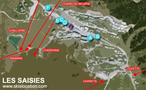 plan les saisies carte de la station de ski