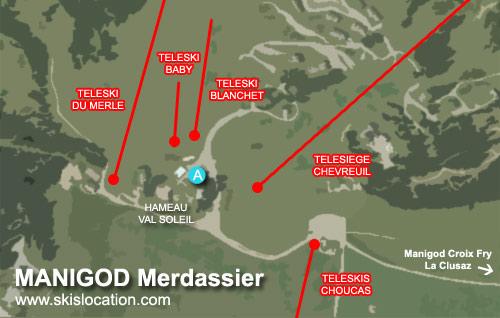 plan manigod merdassier - carte de la station de ski du massif des aravis