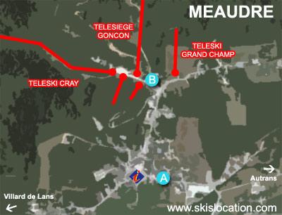 plan méaudre - carte station de ski alpin du vercors