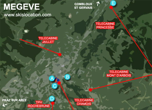 plan megève station ski – carte village
