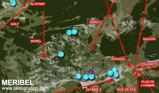 plan méribel station de ski des 3 vallées