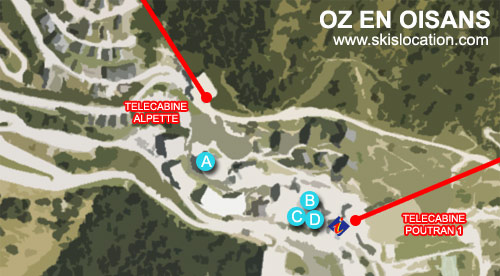 plan oz en oisans - carte de la station de ski