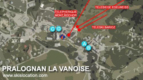 plan pralognan la vanoise - carte du centre du village