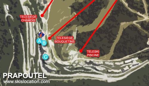 plan prapoutel les 7 Laux - carte station de ski