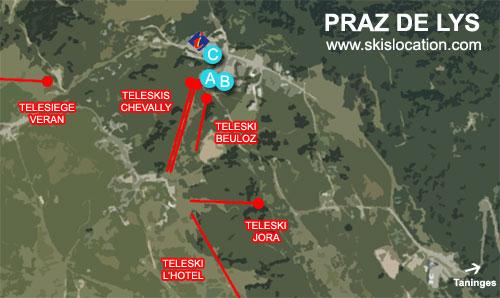 plan praz de lys – carte de la station de ski