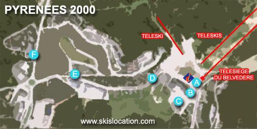 plan pyrénées 2000 Bolquères station de ski des pyrénées