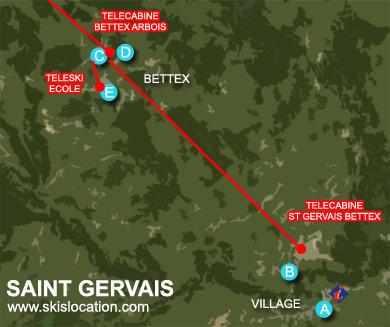 plan saint gervais carte station de ski bettex