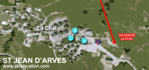plan saint jean d'arves - carte station ski la Chal