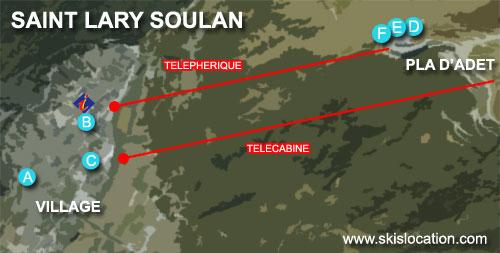 plan saint lary soulan village et pla d'adet 1700