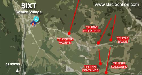 plan sixt fer à cheval – carte du village station de ski