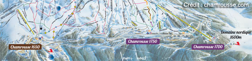 plan station de ski de chamrousse au-dessus de Grenoble
