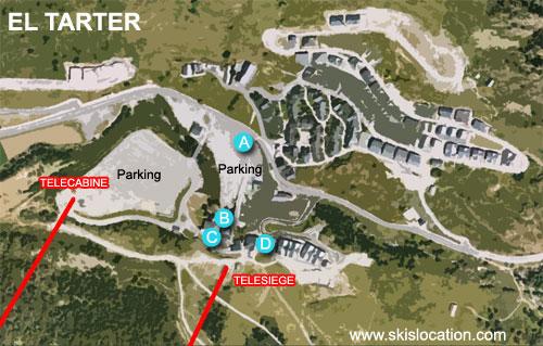 plan de la station de ski de El Tarter sur le domaine de Grandvalira