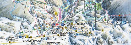 plan station les orres : Champ Lacas (1550), Centre Station (1650), Bois Méan (1800)