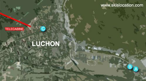 plan de la station de luchon superbagnères dans les Pyrénées