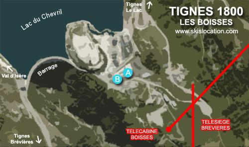 plan tignes 1800 les boisses - carte station de ski espace killy