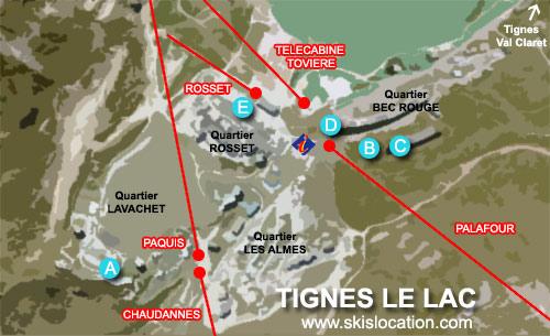 plan tignes le lac station de ski