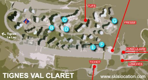 plan tignes val claret 2100 - carte station de ski de l'espace killy