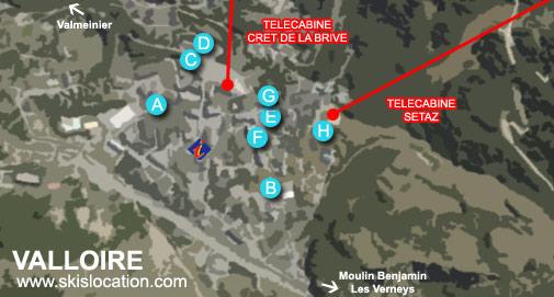 plan valloire carte station de ski centre village