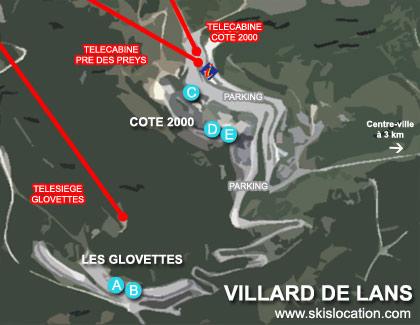 plan villard de lans station ski glovettes cote 2000 balcon de villard