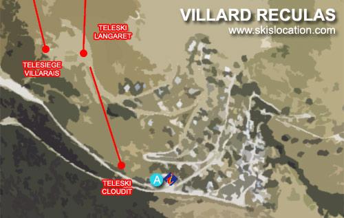 plan villard reculas – carte de la station de ski du domaine de l'alpe d'huez